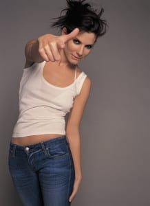 Actress Sandra Bullock Pointing Her Fingers